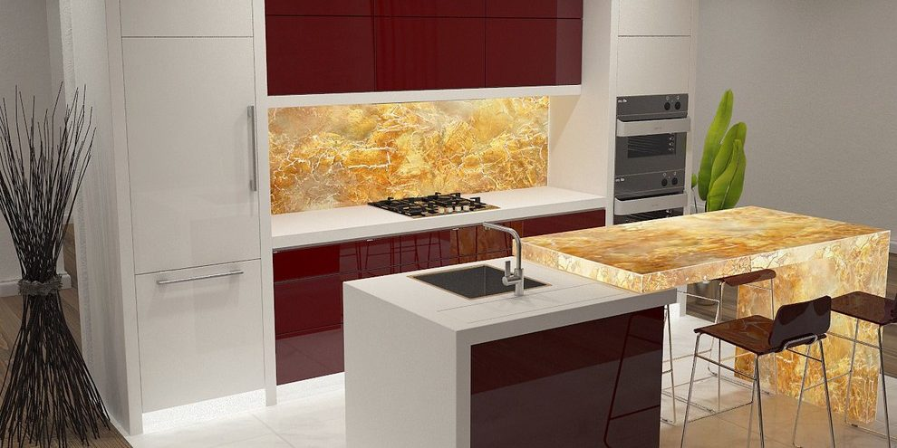 contemporary kitchen 3d rendering